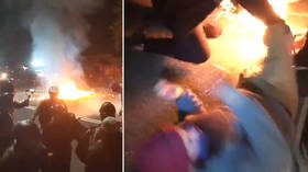 Molotov cocktails tossed towards police during Portland protest, activist's legs set on fire (VIDEOS)