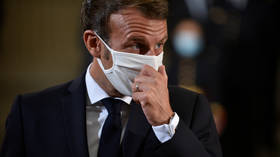 Macron removes mask to COUGH during address to college students (VIDEO)