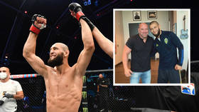 'I got to meet a legend': Chimaev hails Dana White pic as UFC boss admits he's 'happy to play game' by lining up star's fights