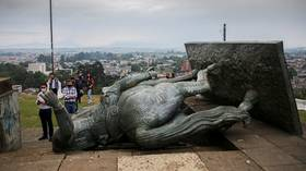 '527 years of humiliation': Indigenous activists topple statue of 'genocidal' 16-century conquistador in Colombia