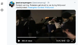 Truck hits protester in LA as BLM crowd surround it, try to open the door (VIDEO)