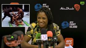 'There was no penetration': Angela Hill laughs off Israel Adesanya 'dry-humping' Paulo Costa after UFC 253 win (VIDEO)