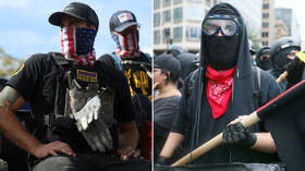 Trump tells Proud Boys to 'STAND BACK' from 'left-wing' riots as Biden calls Antifa only 'AN IDEA'