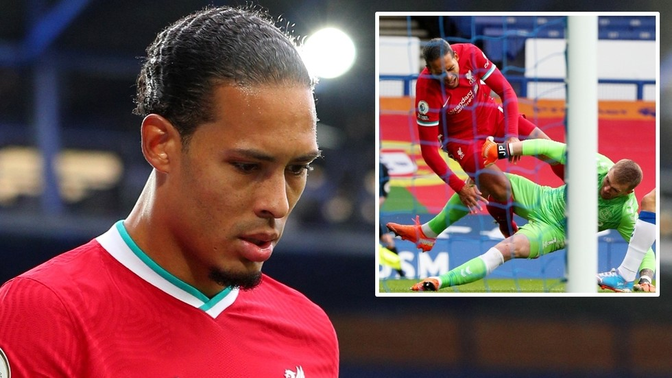 Virgil van Dijk 'set to miss the rest of the season' after suffering SERIOUS knee injury in clash with rivals Everton