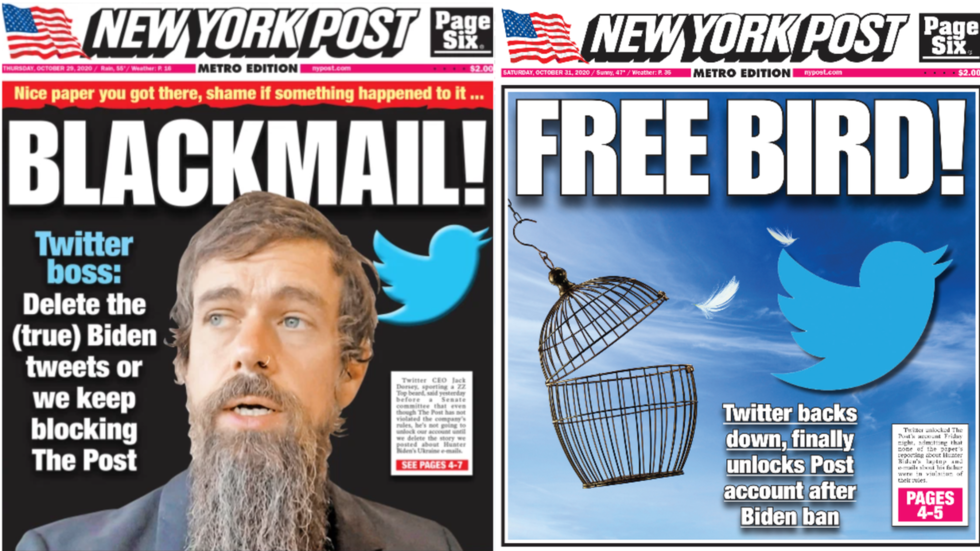 'Blackmail' fails? Twitter makes about-face & unfreezes New York Post account suspended over Hunter Biden story