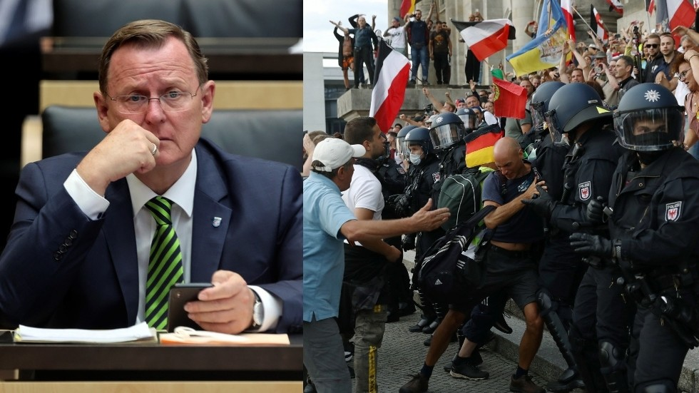 Anti-lockdown protesters are becoming 'TERRORISTS,' claims head of German state of Thuringia