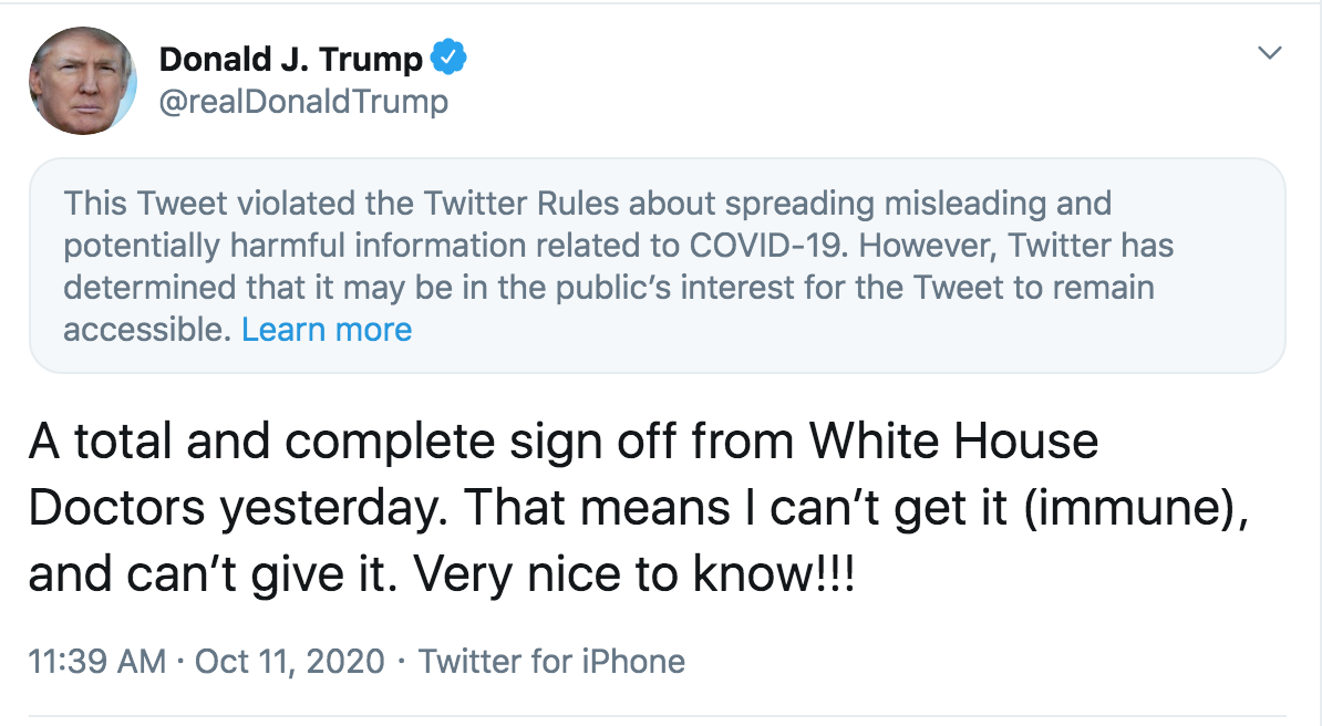 Twitter slaps 'potentially harmful information' warning on Trump tweet claiming he's 'immune' to Covid-19