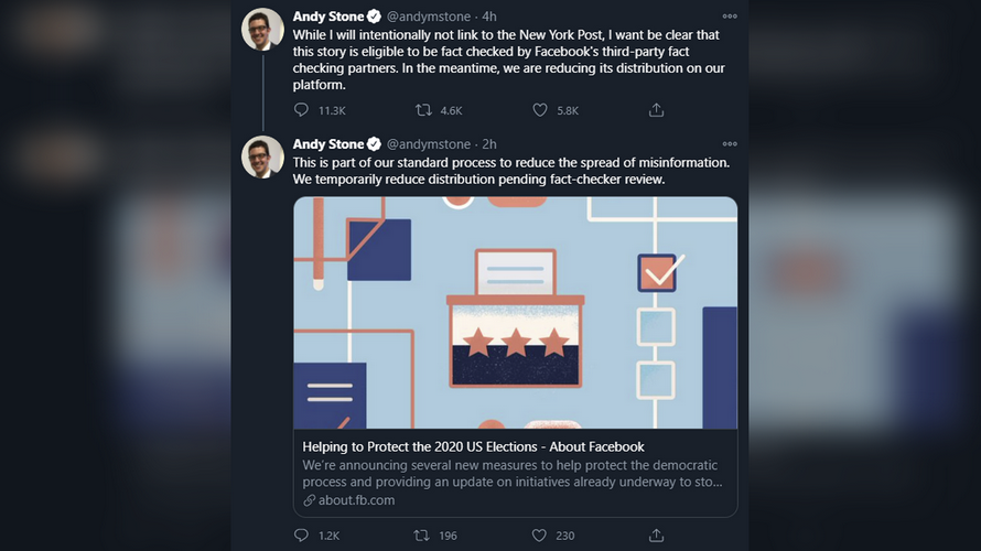 Facebook's Democratic comms chief admits to SHADOWBANNING NYPost story on Hunter Biden emails