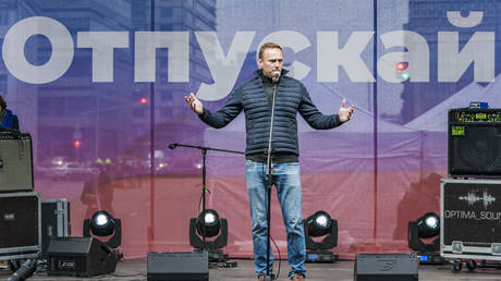 FILE PHOTO: Alexei Navalny, government oppositor, gives an speech during a demonstration for the release of the arrested activists during the summer riots in Moscow, on September 29, 2019.