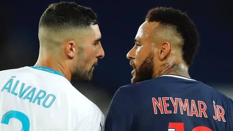 Racism row: Alvaro Gonzalez (left) and Neymar
