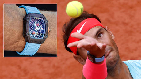 Rafael Nadal has worn a watch worth more than $1 million at the 2020 French Open © Richard Mille / Twitter / Hussin_363   © Reuters / Gonzalo Fuentes