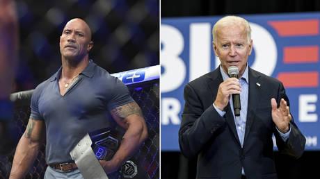 (L) Dwayne The Rock Johnson © Sarah Stier-USA TODAY Sports; (R) Joe Biden © Getty Images/Sean Rayford