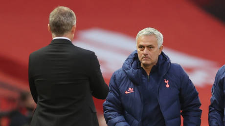 Contrasting fortunes: Tottenham manager Jose Mourinho and Manchester Utd opposite number Ole Gunnar Solskjaer. © Reuters