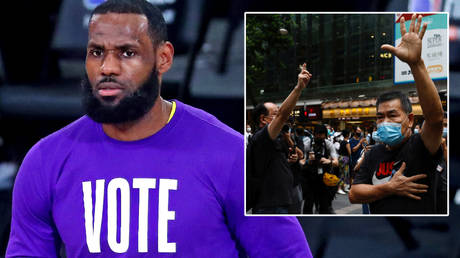 NFL legend LeBron James (left) has been criticized for his silence on protests in Hong Kong © Kim Klement / USA Today Sports | Tyrone Siu / Reuters