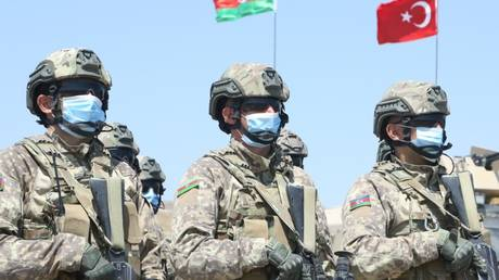 FILE PHOTO: Azerbaijani troops taking part in joint drills with the Turkish military. © Azerbaijan's Defense Ministry