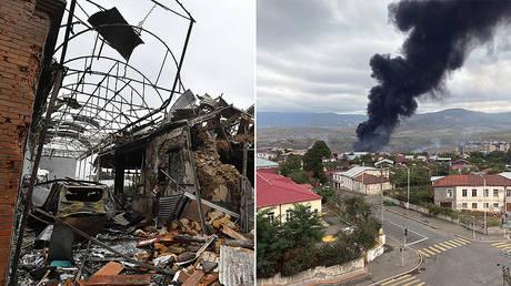 The aftermath of rocket artillery strikes in Ganja (L) and Stepanakert (R) © Sputnik / Mikhail Voskresenskii / RIA Novosti