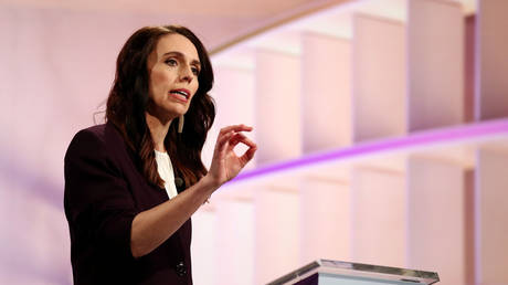 New Zealand Prime Minister Jacinda Ardern participates in a televised debate as election draws near, Auckland, New Zealand, (FILE PHOTO) ©  Pool via REUTERS/Fiona Goodall/File Photo