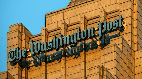 FILE PHOTO: A view of the logo on the new home of The Washington Post via Getty Images, on December, 16, 2015 in Washington, DC