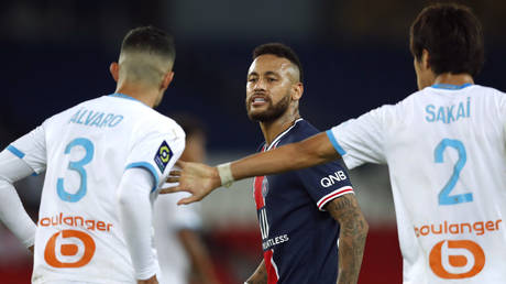 Neymar and Alvaro Gonzalez clashed in the PSG versus Marseilles match in September. © Reuters