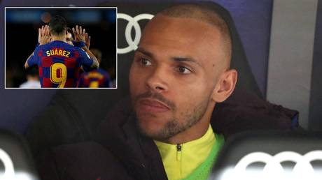 Barcelona forward Marcus Braithwaite has inherited the number previously held by Luis Suarez. © Reuters