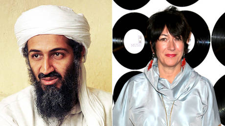(L) Osama bin Laden © Universal History Archive/Getty Images; (R) Ghislaine Maxwell © Paul Zimmerman/WireImage/Getty Images