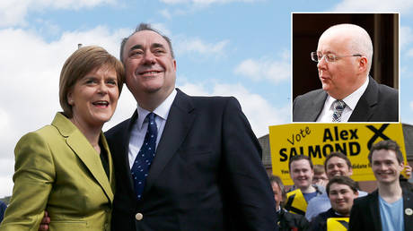 Nicola Sturgeon and Alex Salmond © REUTERS/Russell Cheyne; inset Peter Murrell © REUTERS/Russell Cheyne