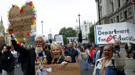 Anti-lockdown protest in London, August 2020