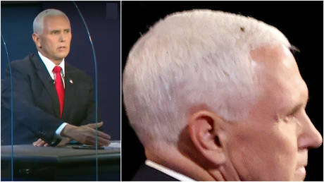 Vice President Mike Pence speaks during the first and only VP debate, assisted by a large fly seen standing on his head for an extended period of time, in Salt Lake City, Utah, October 7, 2020.