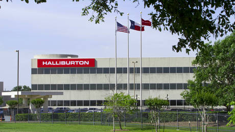 FILE PHOTO. The company logo of Halliburton oilfield services corporate offices is seen in Houston, April 6, 2012.