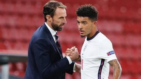 Disciplinary action: England boss Gareth Southgate and striker Jadon Sancho