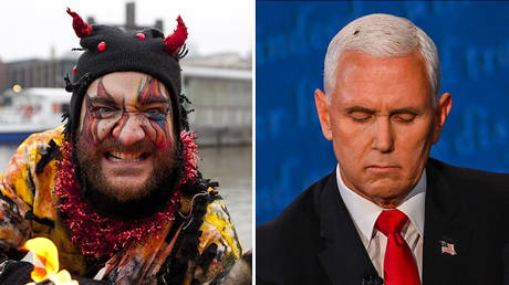 A man dressed as 'Beelzebub', known as the 'Lord of the Flies'. © Global Look Press/Zuma Press/Matt Cetti-Roberts; Mike Pence during debate in Salt Lake City. © AFP / Eric Baradat