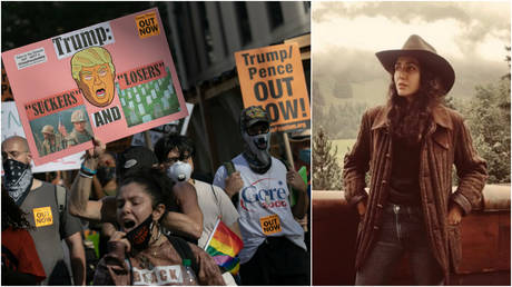 FILE PHOTOS: (L) Protesters hold signs during a march demanding Donald Trump and Mike Pence leave office in the Manhattan borough of New York City; (R) Noor bin Ladin, niece to the late terrorist leader Osama bin Laden.