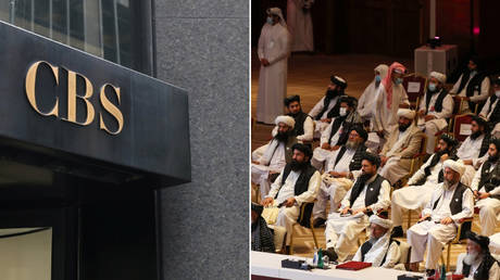 (L) CBS headquarters in New York, US. © Reuters/Shannon Stapleton; (R) Members of the Taliban delegation attend the opening session of the peace talks between the Afghan government and the Taliban in Doha on September 12, 2020. © AFP/Karim Jaafar