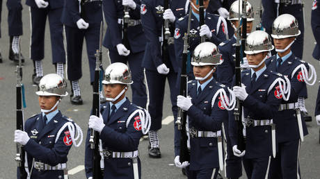 The Taiwan honour guard take part in the National Day celebrations in Taipei, Taiwan on October 10, 2020.