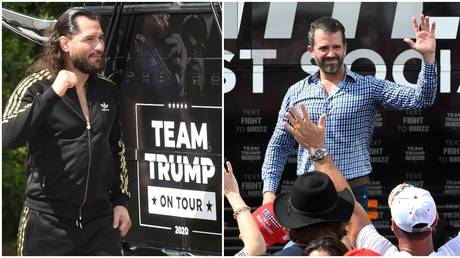 Jorge Masvidal appeared with Donald Trump Jr at the rally in Florida. © SOPA Images/ LightRocket via Getty Images