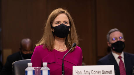 Amy Coney Barrett participates in her confirmation hearing before the Senate Judiciary Committee in Washington, DC, October 12, 2020 © Reuters / Shawn Thew