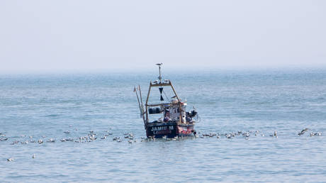 A British fishing boat Jamie M LO583 surrounded by seagulls arriving back into Folkestone Harbour after inshore trawling in the English Channel on the 21st of May 2020, Folkestone, United Kingdom
