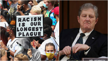 FILE PHOTOS: (L) Protestors stand with signs at a demonstration in Washington, DC;(R) Sen. John Kennedy at a Senate hearing in Washington, DC, October 12, 2020.