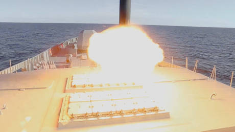 Zircon hypersonic cruise missile is launched from the Russian guided missile frigate Admiral Gorshkov during a test in the White Sea, in this still image taken from video released October 7, 2020