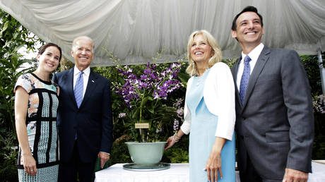 FILE PHOTO: Joe Biden and his wife Jill Biden, pose for a photo with their daughter Ashley and son-in-law Dr. Howard Krein at the National Orchid Garden in Singapore.