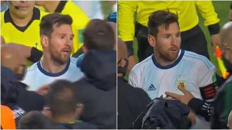 Messi was involved in a row with Bolivian coaching staff after Argentina's victory. © Twitter @TyCSports