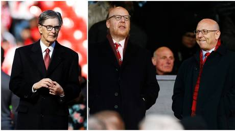 Liverpool owner John Henry and Manchester United counterparts Avram and Joel Glazer. © Reuters