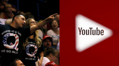QAnon supporters at a 2018 rally for President Trump in Pennsylvania, seen alongside the YouTube logo © Reuters / Leah Millis and Dado Ruvic