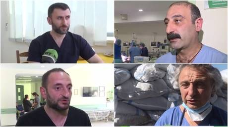 Some of the medics working in Stepanakert: Shahen Danielyan (upper left), Atom Ter-Grigoryan (upper right), Norayr Zakharyan (lower left) and Jean-Michel Ekherian (lower right). © RT