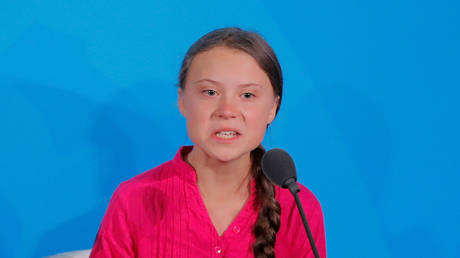 Greta Thunberg is shown in 2019, scolding world leaders for inaction on climate change in a speech at the United Nations in New York.