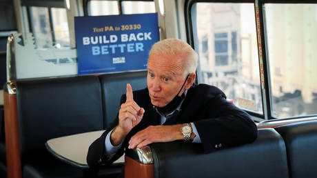 FILE PHOTO. US Democratic presidential candidate and former Vice President Joe Biden campaigns on train tour in Pennsylvania, September 30, 2020