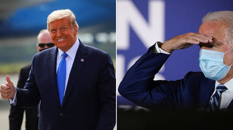 US President Donald Trump and Democratic presidential candidate Joe Biden have events on different TV networks at the same time ©  REUTERS/Carlos Barria;  REUTERS/Tom Brenner