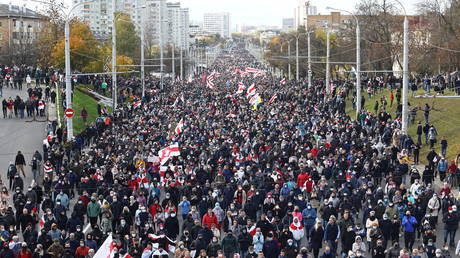 People attend an opposition rally to reject the presidential election results in Minsk, Belarus on October 18, 2020.