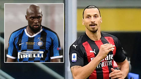 AC Milan's Zlatan Ibrahimovic (right) won the derby and taunted Inter's Romelu Lukaku on Instagram © Wolfgang Rattay / Reuters | © Daniele Mascolo / Reuters