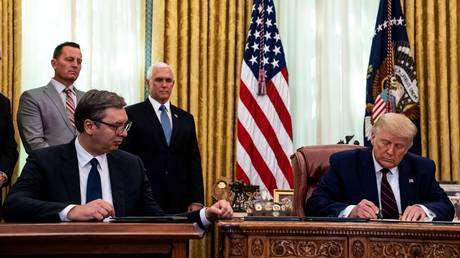 Serbian President Aleksandar Vucic and US President Donald Trump at a signing ceremony in the White House on September 4, 2020 in Washington